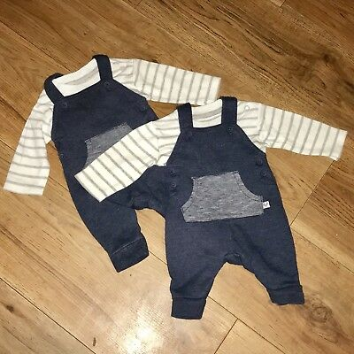 Twin Boy Clothes First Size Newborn Matching Soft Feel Dungarees Set Pre-loved