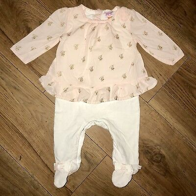 Ted Baker 3-6 Months Girls Pink Bows Sleepsuits Babygrow Pre-loved