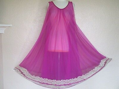 Vintage Nightgown One Size Lilac Double Chiffon beige lace hem full sweep