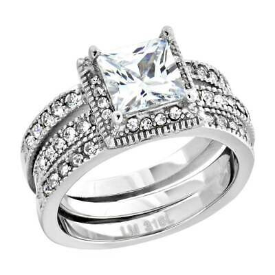 Women's Stainless Steel Princess Cut AAA Cubic Zirconia Wedding Ring Set 2.05 Ct