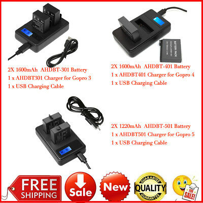 Dual LCD Charger + 2 Gopro Batteries For GoPro HERO 5/4/3/2 AHDBT-501 AHDBT401 C
