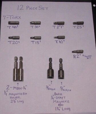 "NEW- 12 Piece Set,,ScrewGun/ScrewDriver Bits,,1/4"" Drive--W/-, Torx,,,Hex,,,Ect."