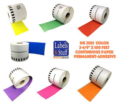 LOT 1 - 12 DK-2205 Color Labels Brother-Compatible Continuous + option cartridge