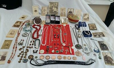 Fab Solid Silver,vintage,costume Jewellery,victorian Photos,coins,watches, Boxes