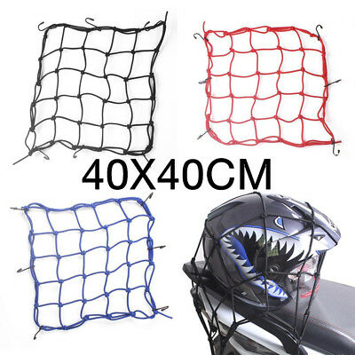 40x40 Motorbike Motorcycle Hold Helmet Cargo Luggage Mesh Net Bungee 6 Hook AG