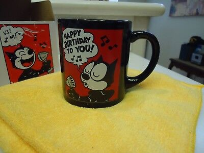 Felix the Cat Coffee Cup -  1989 New in Box - Singing in Bullet Microphone RARE