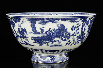 China Collectible Handwork Exquisite Painted Blue And White Porcelain Bowl