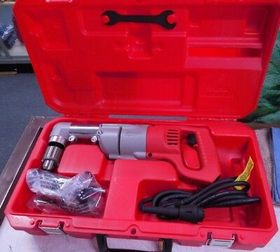 """Milwaukee Right Angle Electric 1/2"""" Drill Never Used in Case 1107-1 3107-6"""