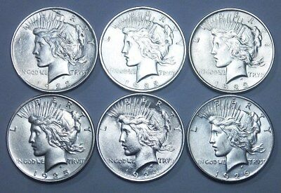 6 Peace 90% Silver Dollars Coin  3 1923 , 1924 1925 1926   Low To High Au ?