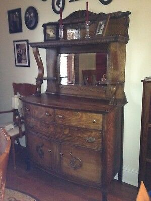 Tiger oak Clawfoot Buffet Hutch With Beveled Mirror