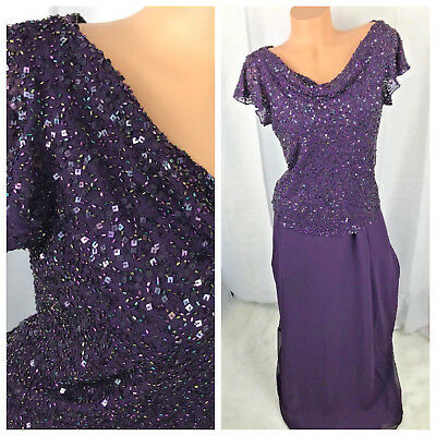 JKARA Dress 10 Purple Beaded Formal Cocktail Gown Mother of the Bride Scoop #cp