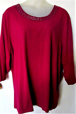 Exc CATHERINES Beaded Neckline Stretch Tunic Style Top Shirt 5X 34/36