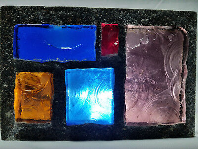 Dalle De Verre Stained Glass Vintage Chunk Glass Panel #2 Barn Of Barrington Il