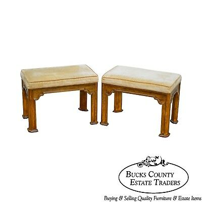 Drexel Heritage Pair of Vintage Walnut Stools or Benches