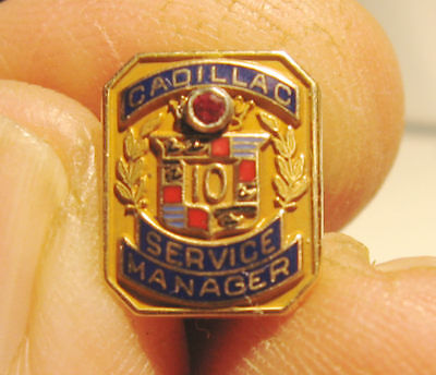 Cadillac Service manager 10K Gold & Ruby 10 Year Lapel Hat Tie Screwback Pin