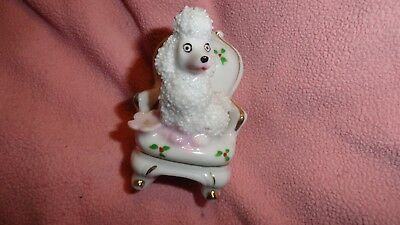 "Sweet Vintage White Poodle Puppy Dog w/ Spaghetti Trim on Chair 3-1/2"" Japan"