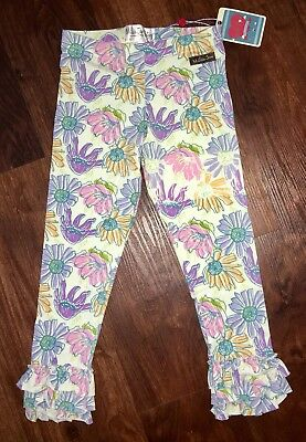 "Matilda Jane Good Heart ""Abbott"" Flower Triple Ruffle Knit Leggings Size 6 NWT"