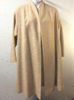 Vintage Tan Swing Dress Coat Womens Size Large X-Large Lined Bow Detail