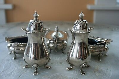 Birks Matching Sterling Silver Salts Peppers Mustard with Gold Washed Spoons