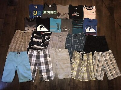 21 pc Boys summer Clothing Lot, Hurley, Quiksilver, O'Neil, zoo York, size 7-8