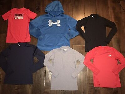 6 peice Under Amour Shirt/Sweatshirt Lot Youth Large YLG cold gear/heat gear