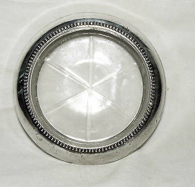 Coaster - Sterling Silver and Glass S Frank M Whiting & Co w beaded rim