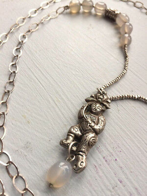 Antique Chinese Silver Necklace Dancing Child With Lotus Qing Dynasty