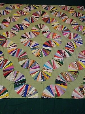 "Vintage Hand & Machine Sewn Cotton Fan Quilt 96"" x 96"""