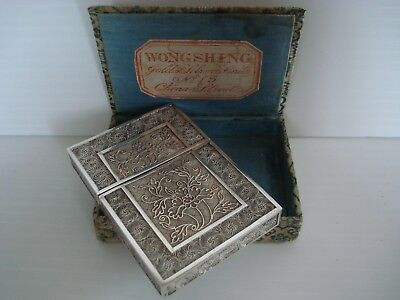 Very Rare Chinese Export Silver Filigree Card Case in Labeled Wongshing Box