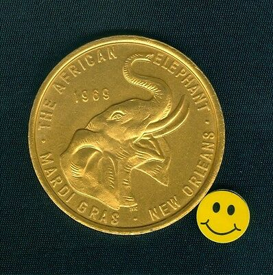 African Elephant - Thick 10ga. Gold Aluminum Mardi Gras Doubloon Doubloon 1969