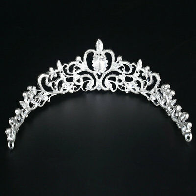 Bridal Princess Austrian Crystal Tiara Wedding Crown Veil Hair Accessory LU