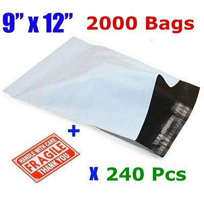 2000 9 x 12 Poly Mailers Shipping Envelopes Self Sealing Bags 2.5 Mil Waterproof