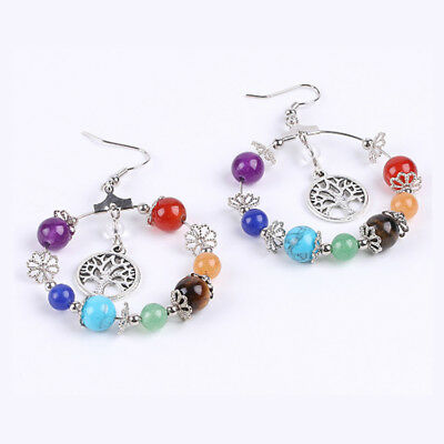 1Pair Natural Stone 7 Chakra Tree Of Life/3D Round Sway Pendant Hook Earring