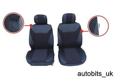 Black Fabric Front Seat Covers For Vauxhall Vivaro Sportive 01-14