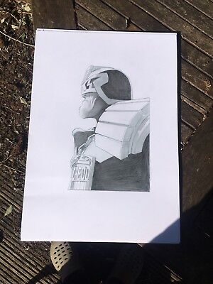 2000AD JUDGE DREDD signed A3 pencil sketch by 2000ad  artdroid  Lee Carter
