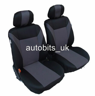 For Car Van Motorhome Bus Mpv Truck 1+1 Universal Grey-Black Front Seat Covers