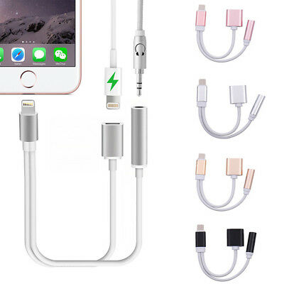 2in1 Audio Lot Charger Adapter Cable Lightning to 3.5mm iOS12 For iPhone 7 8 X