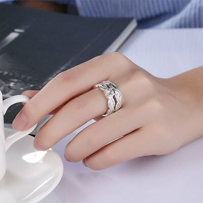 Double Layers Women Engagement Jewelry Zircon Wedding Finger Ring Nice Gift LH