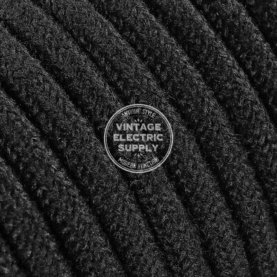 Black Round Cotton Covered Electrical Wire 18/2 - Braided UL Cotton Fabric Wire