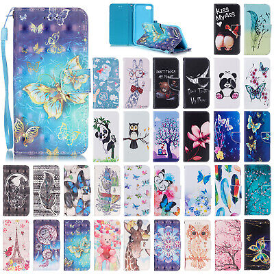 For Apple iPhone 7 8 Plus Patterned Flip Leather Wallet Stand Phone Case Cover