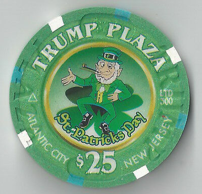 $25 Atlantic City Trump Plaza Casino Chip March 2003 St Patricks Day Ltd 300