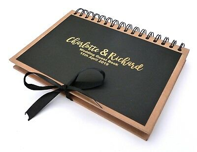 A5 Personalised Kraft Brown Black Gold Foil Printed Wedding Guest Book Ribbon