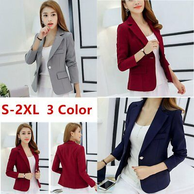 Women Formal Short Jacket Ladies Casual Long Sleeve Button Coat Top Outerwear CO