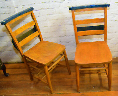 Pair of Chapel chairs church kitchen dining antique vintage