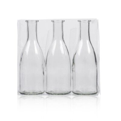 3er Pack Flaschenvasen BOTTLE H. 18,5cm D. 6,5cm transparent Glas Sandra Rich