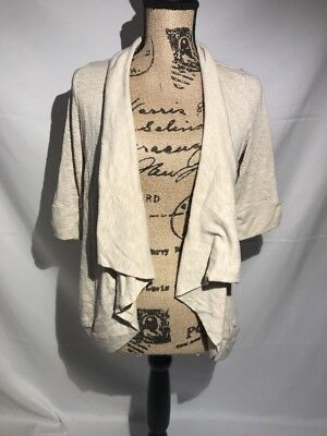 Maternity Open Front Cardigan Motherhood Oatmeal Sz M C01