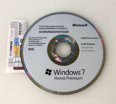 Microsoft Windows 7 Home Premium 64 Bit OEM DVD / CD + COA Product Key Schlüssel