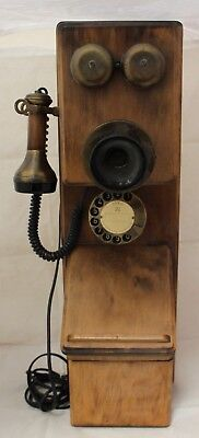 Vintage ASTRAL Wood Wall Mount Rotary Dial Telephone - 250