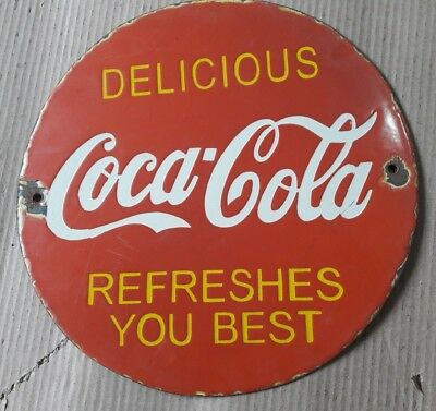 """Porcelain COCA-COLA Sign SIZE 12"""" INCHES ROUND"""