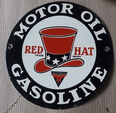 """Porcelain RED HAT GASOLINE  Sign SIZE 12"""" INCHES ROUND"""